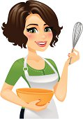 Woman In Apron Cooking