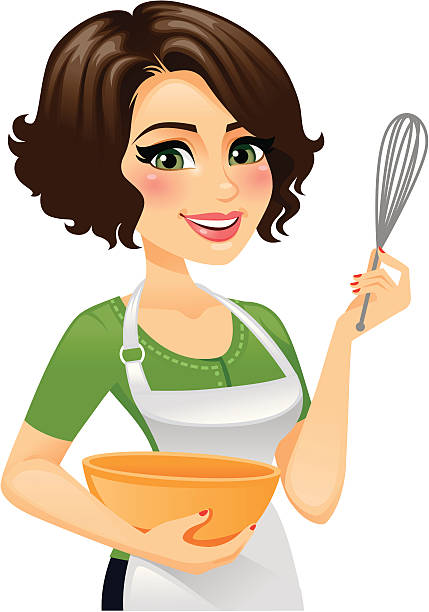woman in apron cooking - heyheydesigns stock illustrations