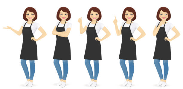 Woman in apron Smiling woman in apron standing with different gestures isolated apron stock illustrations