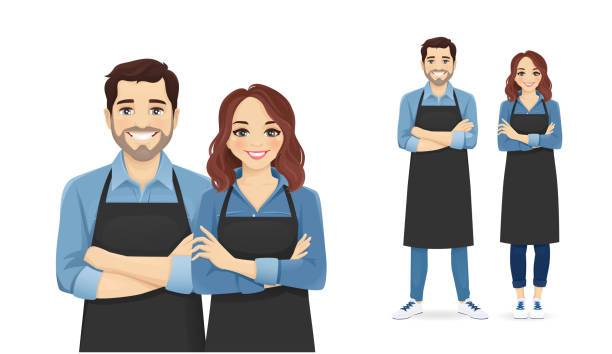 Woman in apron Smiling young man and woman in black aprons standing isolated vector illustration apron stock illustrations