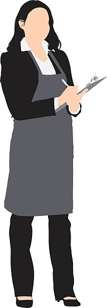 Woman in apron with writing pad Woman in apron with writing padhttp://www.twodozendesign.info/i/1.png apron isolated stock illustrations
