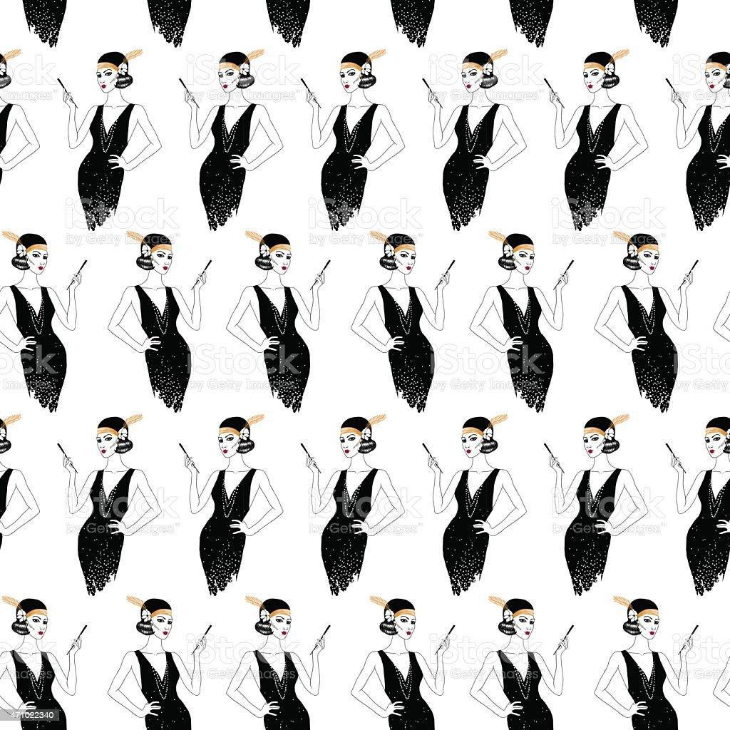 Woman in art deco style. Seamless pattern. vector art illustration