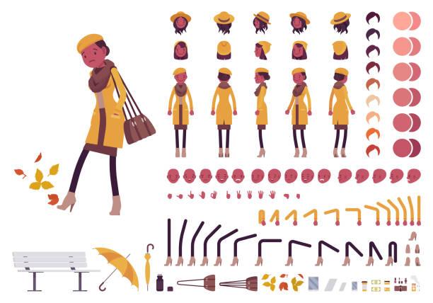 ilustraciones, imágenes clip art, dibujos animados e iconos de stock de mujer en el sistema de creación de ropa otoño - moda de otoño