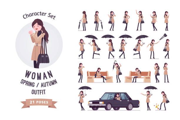ilustraciones, imágenes clip art, dibujos animados e iconos de stock de mujer en ropa de otoño, primavera - moda de otoño