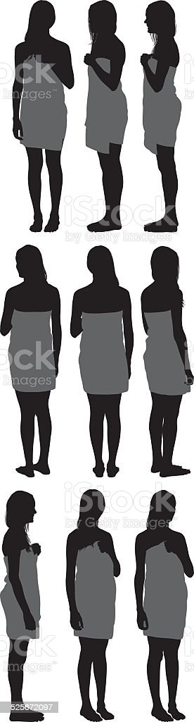 Woman in bathrobe vector art illustration