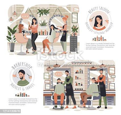 Woman in beauty salon, man in barber shop, people vector illustration