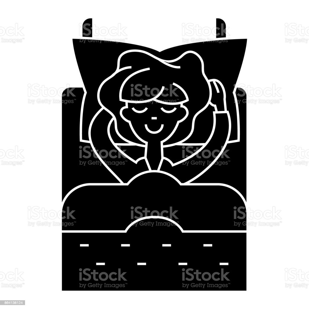 woman in bed sleeping  icon, vector illustration, sign on isolated background royalty-free woman in bed sleeping icon vector illustration sign on isolated background stock vector art & more images of adult