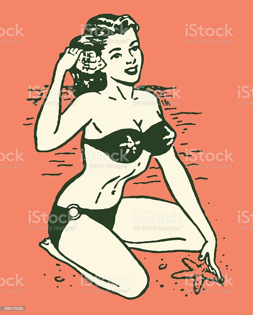 Woman in Bikini at Beach vector art illustration