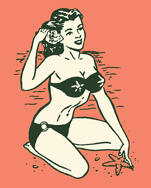 Woman in Bikini at Beach http://csaimages.com/images/istockprofile/csa_vector_dsp.jpg pin up girl stock illustrations