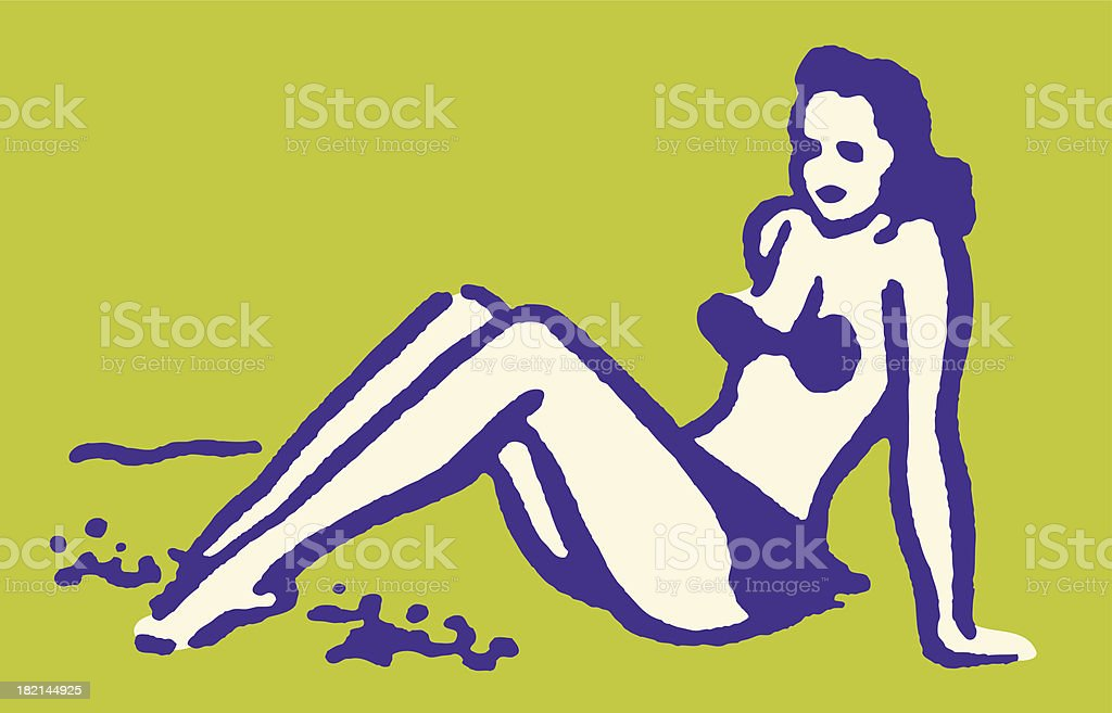 Woman in Bikini Sitting on Beach vector art illustration