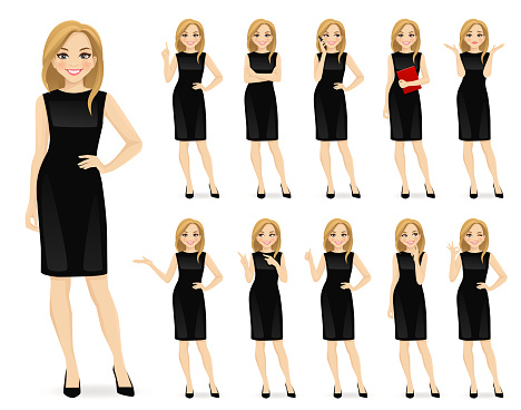 Woman in black dress character set