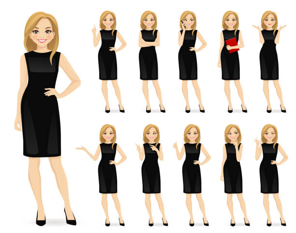 ilustrações de stock, clip art, desenhos animados e ícones de woman in black dress character set - business woman