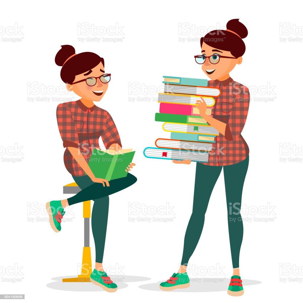 Frau Im Buchclub Vektor Mit Großen Stapel Von Büchern Student ...