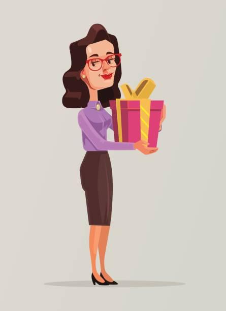frau im business-anzug hält großen geschenk-box - chefin stock-grafiken, -clipart, -cartoons und -symbole