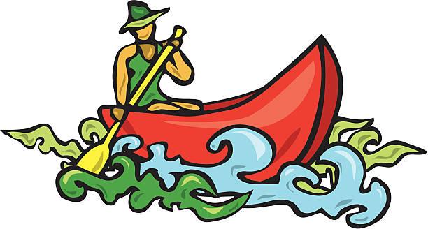 woman in canoe vector art illustration
