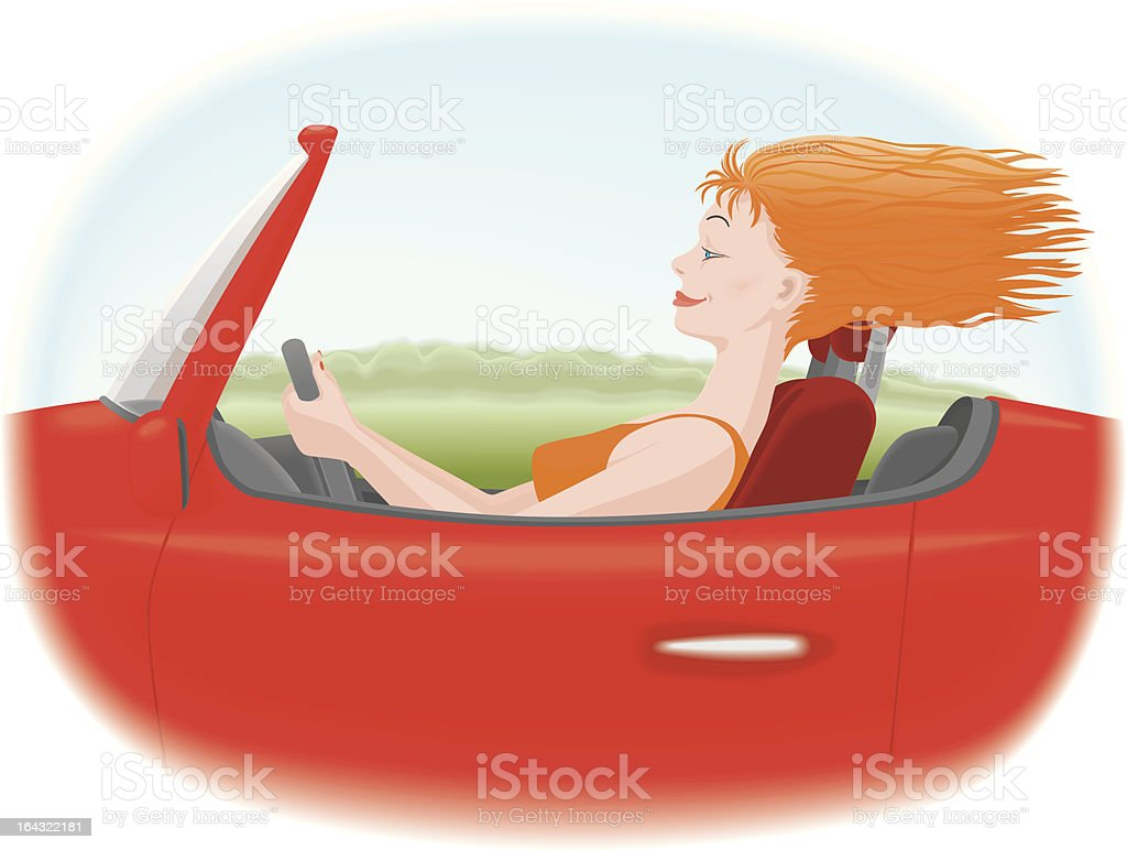 Woman in car royalty-free stock vector art