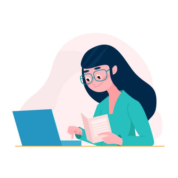bildbanksillustrationer, clip art samt tecknat material och ikoner med kvinna i tecknad platt stil sitta vid bordet med dokument med hjälp av dator, laptop. frilansare kvinna koncept. kvinnlig student som studerar - digital device classroom