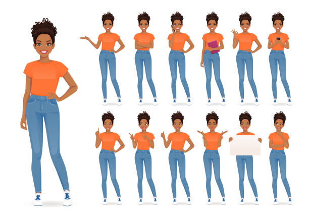 Woman in casual style clothes set Young african woman in casual style clothes set different gestures isolated vector iilustration group of objects stock illustrations