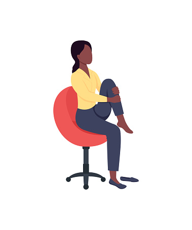Woman in chair stretching leg flat color vector faceless character