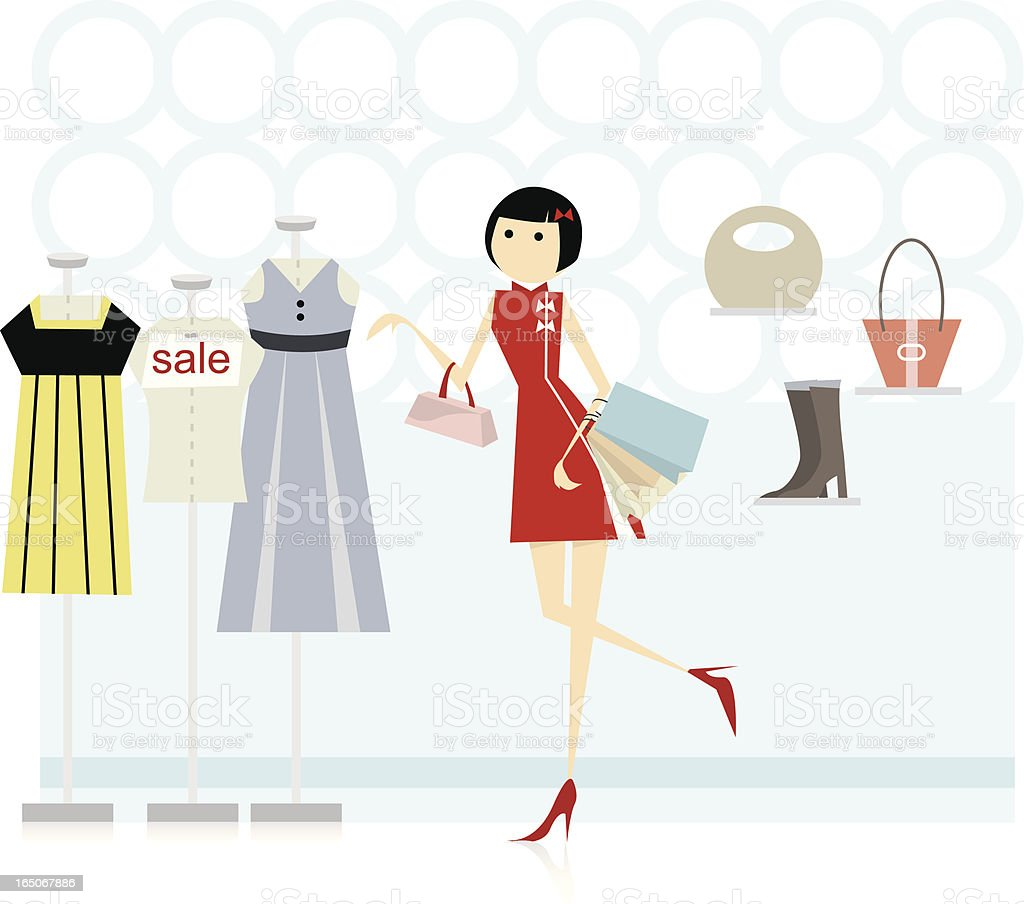 woman in chinese cheongsam shopping vector art illustration