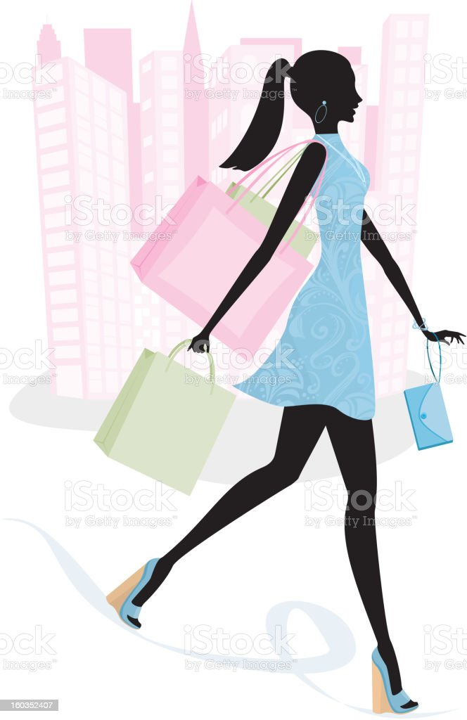 Woman in City on Spending Spree Silhouette vector art illustration