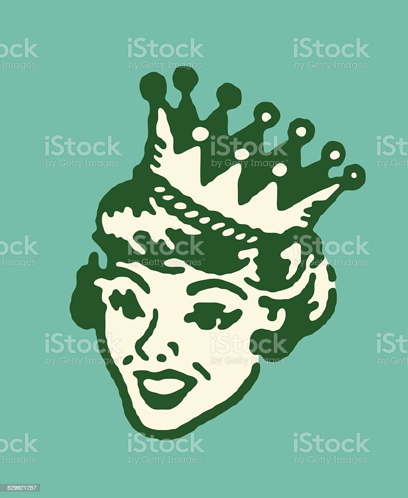 Woman in Crown vector art illustration