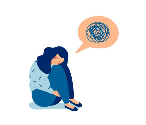 frau in depressionen mit verwirrten gedanken in ihrem kopf. - depression stock-grafiken, -clipart, -cartoons und -symbole