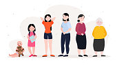 istock Woman in Different Age. Aging Process Concept Vector Illustration 1205768412