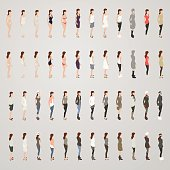 Illustrations of one woman wearing 24 different outfits, seen in front and rear views. Vector figures are presented in isometric projection.
