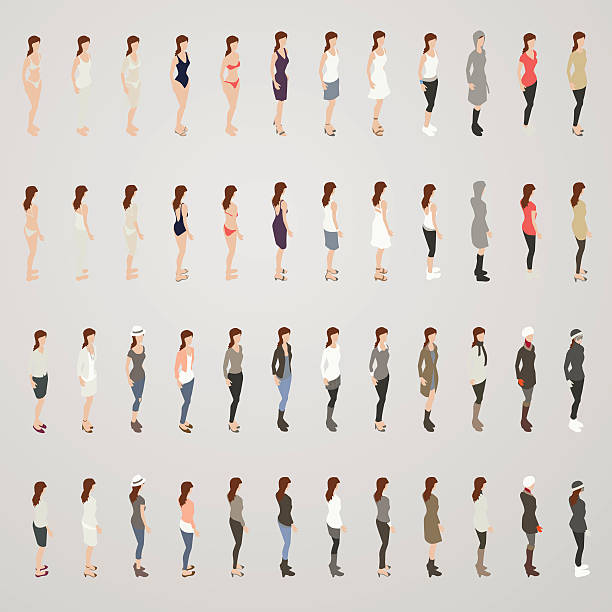 Woman in Different Outfits - ilustración de arte vectorial