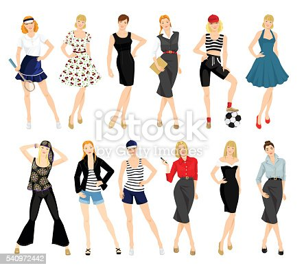 Woman In Different Style Of Clothes Stock Vector Art More Images Of Adult 540972442 Istock