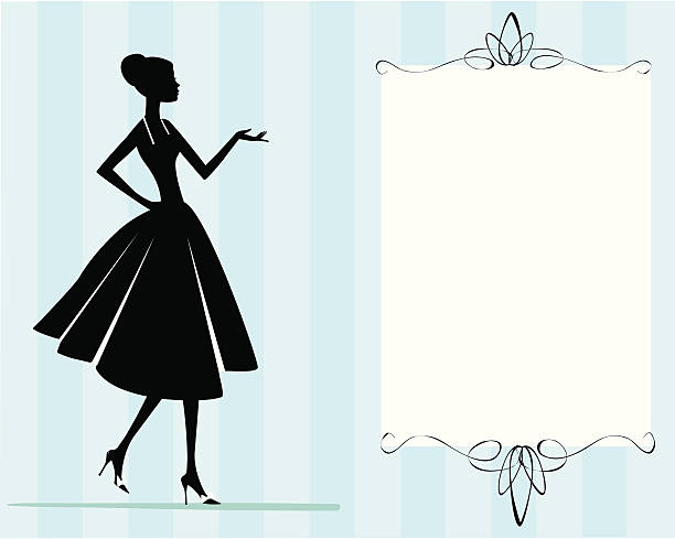 Woman in Dress Invitation vector art illustration