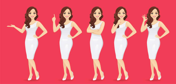 ilustrações de stock, clip art, desenhos animados e ícones de woman in dress set - portrait of confident business