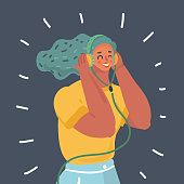 Vector cartoon Woman with earphones on dark background. Close up view female character.