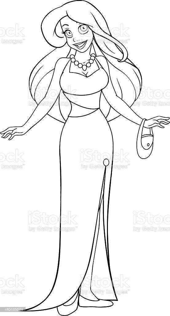 Ilustración De Mujer En Vestido De Noche Para Colorear Página Y Más