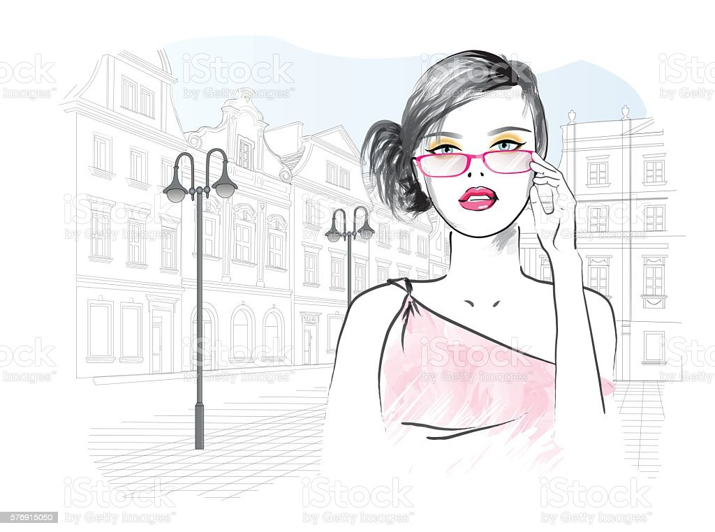 woman in glasses on the background of the city. ベクターアートイラスト