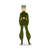 Hand drawn young blond woman in green camouflage military uniform and grey cap working in forces over white background vector illustration. Elegant policewoman concept