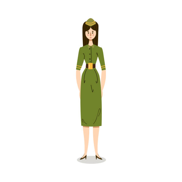 woman in green military dress uniform working in police illustration Hand drawn young woman in green military dress uniform working in police over white background vector illustration. Elegant policewoman concept sergeant stock illustrations