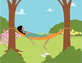 A woman relaxing in a hammock on a nice summer day.
