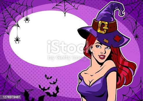 istock Woman in hat, Halloween illustration. 1276979461