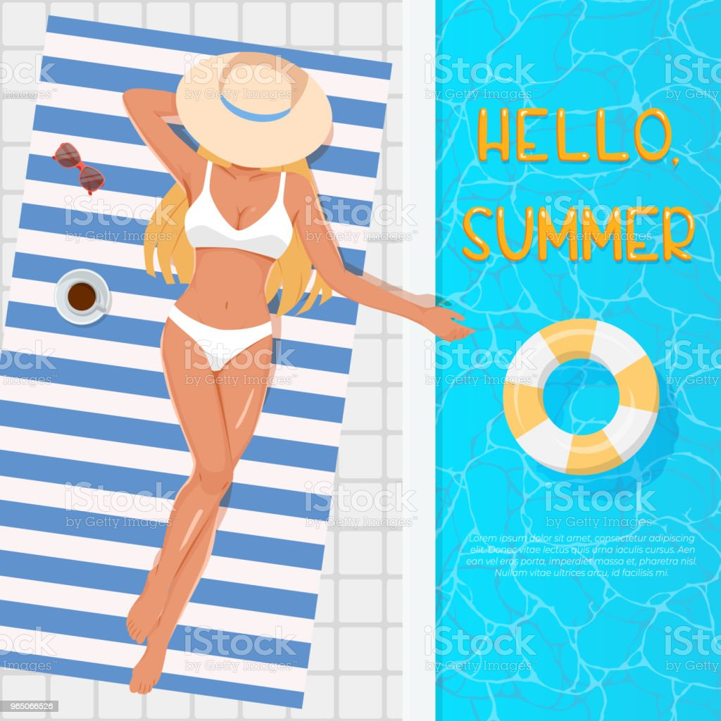 Woman in hat sunbathing on the beach towel near the swimming pool. Summer vacation concept. Top view of young blonde girl in white swimsuit sunbathing beside water pool royalty-free woman in hat sunbathing on the beach towel near the swimming pool summer vacation concept top view of young blonde girl in white swimsuit sunbathing beside water pool stock illustration - download image now