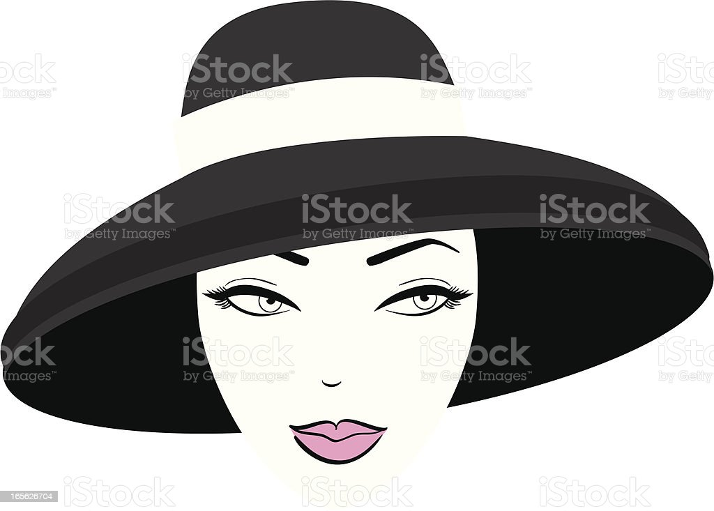 Woman in Hat vector art illustration