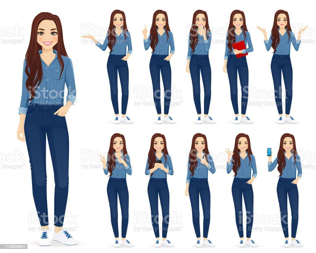 Kvinna i jeans set - Royaltyfri Använda telefon vektorgrafik