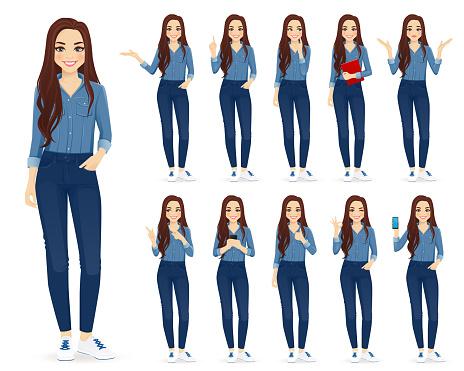 Kvinna I Jeans Set-vektorgrafik och fler bilder på Använda telefon