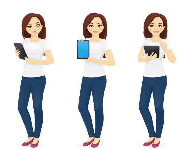Woman in jeans with tablet Woman in jeans with tablet in different poses alternative pose stock illustrations