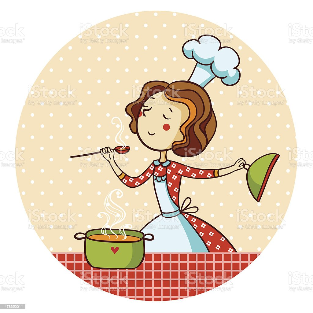 Woman in kitchen. Cook. royalty-free stock vector art
