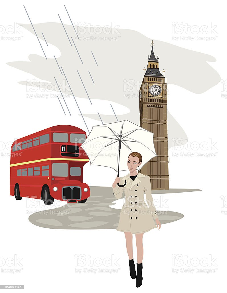 Woman in London vector art illustration