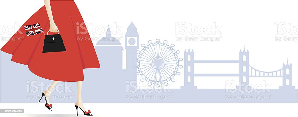 Woman in London vector art illustration