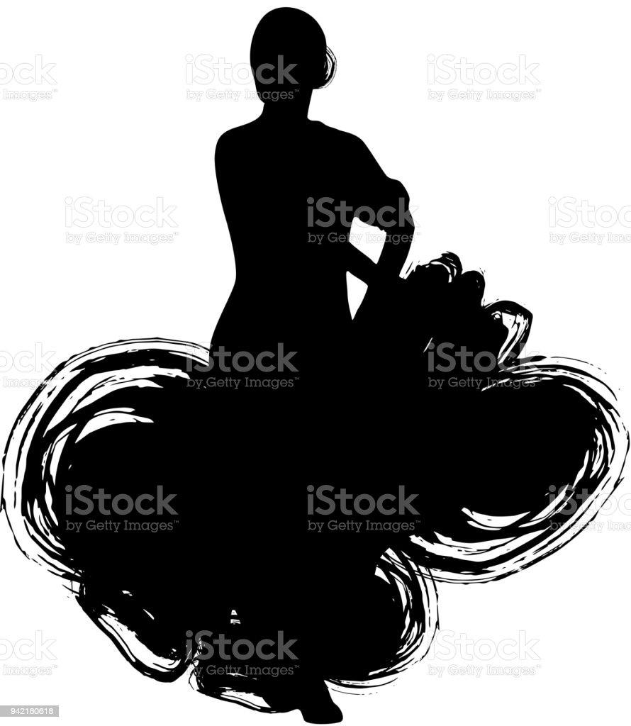 bac2a5b1bc44 Woman In Long Dress Stay In Dancing Pose Flamenco Dancer Spanish ...
