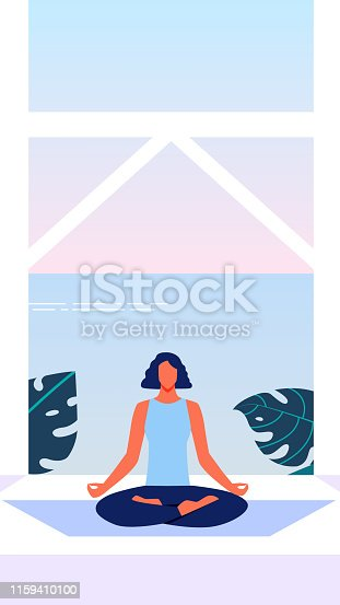 Woman in Blue Top Sitting on Floor in Lotus Position on Terrace Overlooking Sea. Sports Training for Women. Sea View Illustration. Healthy Lifestyle. Yoga Class for Women. Relaxation and Meditation